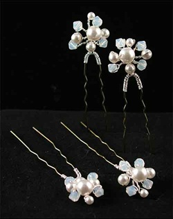 Swarovski Crystal and Pearl Hair Pins. Set of 4.  Various colors available.