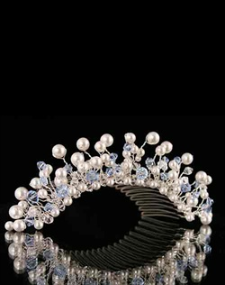 Swarovski Crystal and Pearl Tiara Comb.  Silver or Gold. Various colors available