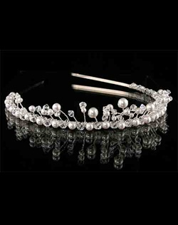 Swarovski Crystal and Pearl Tiara Headband.  Silver or Gold. Various colors available.