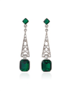 Sparkling green emerald cut Swarovski crystals dangle beautifully in a striking Art Deco-inspired silver plated setting.