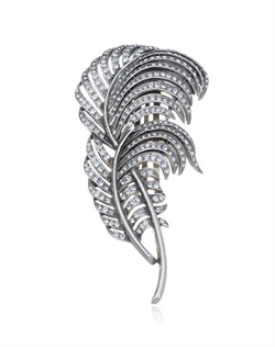 Swarovski crystals sparkle in a silver plated setting that forms an eye-catching leaf design.