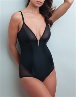 Extra firm control, plunge front shaping body briefer