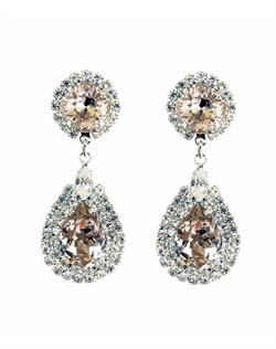 Blush crystal accented with clear crystal bezel chandelier earrings