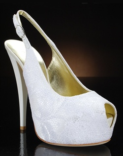 Peep toe slingback with lace overlay