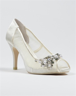 Sheer peep toe platform pump with crystal and pearl embellishment