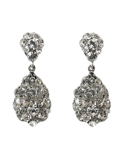 Swarovski Elements encrusted sterling silver filigree earrings.