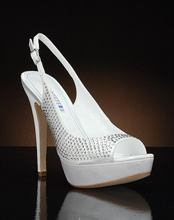 Peep toe platform slingback with crystals