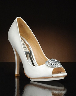 Peep toe pump with crystal embellishment