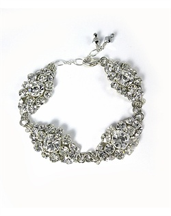 Silver filigree encrusted with Swarovski round crystals, adjustable sterling silver link chain