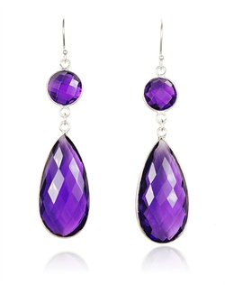 "Round and pear-shaped amethysts shine in their sterling silver settings. ""Confetti"" is the perfect fun, bright, and easy-to-wear earring collection for special occasions. Whether you're looking for bridesmaid jewelry to synchronize with your wedding palette, bridesmaid gifts, or colorful no-fuss jewelry to wear on vacation, Confetti is your go-to jewelry collection."