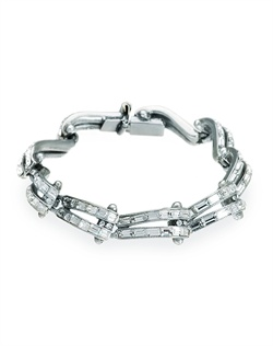 This bridal crystal bracelet from designer Ben Amun is all about retro chic. Baguette cut Swarovski crystals sparkle brightly in their beautifully contoured silver plated setting. With its bold, graphic appeal, this piece will make a striking addition to your bridal ensemble.