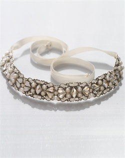 Swarovski crystal, fresh water pearls, and ivory ribbon headband