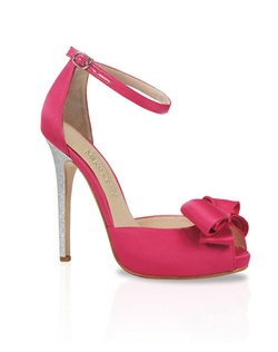 Hot pink silk peep-toe sandal features silver glitter heel and bow detail. Also customizable in various colors, fabrics, and heel heights.