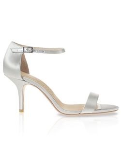 Sandal features sterling silver leather. Also customizable in various colors, fabrics, and heel heights.