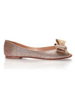 Gold glitter peep toe flat with Big Bow embellishment