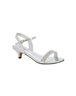 "The Colorful Creations Diane sandals are a stunning low heel style. The simple design of the single toe strap and ankle strap allow for ton of wear. The rhinestone encrusted toe strap glitters in the light. Available in silver metallic with a 1 1/2"" heel."