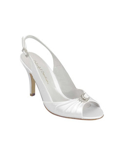 """Wear this glamorous slingback in dyeable white satin or ivory satin. The heel measures 3"". Available in a large selection of sizes."