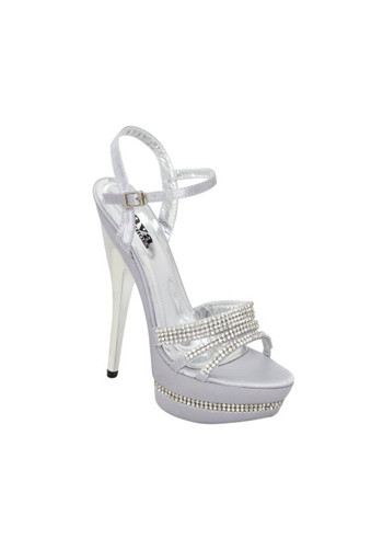 "Rhinestones on the straps and platforms! The high heeled Colorful Creations Angelina shimmers as a platform sandal, smothered in dazzling rhinestones. It is a great choice for bridesmaids, prom and evening wear. The Colorful Creations Angelina is also available in taupe. 4 1/2"" heel,"
