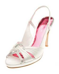 """Criss-cross pleated straps across the toe are embellished beautifully with mirrored crystals for just the right amount of sparkle. The slingback is set with a bit of elastic so it's easy to slip on and provides a comfortable, non-slip fit. Made from ivory silk satin with a tapered heel that measures 3.25""."