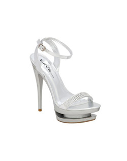"Show Stopper, Party Shoe! The Colorful Creations Vegas is a sexy open toe stiletto evening sandal featuring a shimmering rhinestone strap. Additional unique double platform. Perfect for prom, the Colorful Creations Vegas is available exclusively in silver metallic. Up to size 12, 5 1/4"" heel."