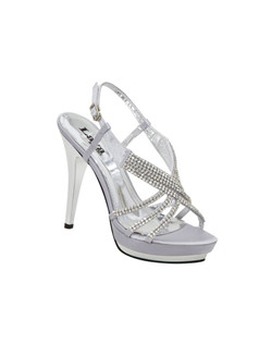 "Colorful Creations's Alexa open toe platform sandal dazzles in silver while featuring a strappy design accented with 6 rows of lavish rhinestone d cor across the front bands. The Colorful Creations Alexa evening shoes is also available in taupe. The Alexa is a great choice for prom, bridesmaids or as pageant shoes! 4 1/4""heel, non-dyeable."