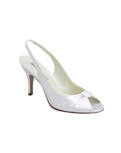 """A simple peep toe gets a boost of beautiful with a pleated vamp and a tapered 2.75"" heel. Available in dyeable white satin. The slingback is made with a bit of elastic to move with you and provide all day comfort. Available in a wide selection of sizes. """