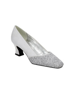 Built to last the entire night. Audrey pump combines comfort with glam featuring an elegant glitter/satin upper, built on a comfortable 2 inch heel available in medium and wide widths up to size 13 in silver, gold, brown and black.