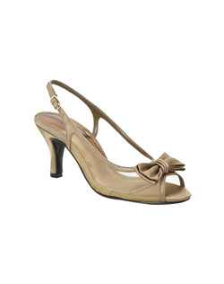 The elegant Colorful Creations Debra slingback evening shoe is framed by a lovely mesh upper trimmed in satin and a darling accent bow. The Debra dress shoe has an adjustable strap along with a comfortable peep toe and is available in medium and wide width up to size 13 in silver, black, navy and taupe.