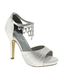 """Platform sandals with lovely pleated toe strap detail. The D'Osay heel features an adjustable ankle strap and cascading rhinestone jewel at the vamp of the foot. Heel measures 3 3/4"" with a 1/2"" platform front. Available in dyeable white silk."""