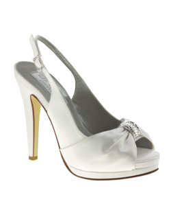 """Gorgeous peep toe slingbacks featuring baggett crystal embelishement and lavish fabic toe. The 4"" heel is complimented with a 1"" platform front and adjustable sklingback design. Available in dyeable white silk."""