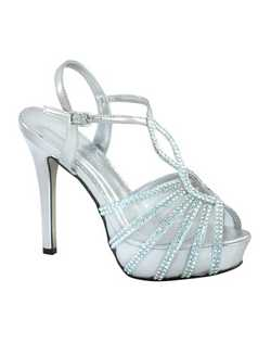 "The Johnathan Kayne Glasgow evening shoes are a beautiful work of art. The unique mesh and rhinestone design is striking. The sheer vamp also works as a covered platform letting the rhinestone cascade down the side of the foot. The 4"" heel is balanced with a 3/4"" platform front. Available in Champagne satin and Silver metallic."