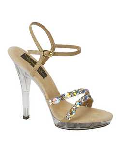"""You won't just be walking in these shoes, you'll be strutting. The 4"""" clear heel, platform base and crystal straps scream """"party"""" all night long. Made with an adjustable ankle strap for a secure fit, these shoes are available in a wide selection of sizes."