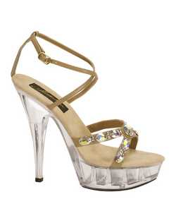 """A daring look with a 4.5"""" heel and a clear platform sole. The synthetic taupe upper is designed with very delicate straps so that the crystals over the toe really stand out as the focal point. The ankle strap is set with a tiny gold buckle so you can adjust for a comfortable fit."