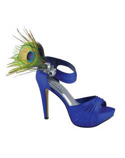 """Gorgeous platform pumps with gem cluster and peacock feather accents at the ankle. The supple fabric is rouched at the toe and along the ankle strap. The tall 4"""" heel is nicely balanced with a 1"""" platform front."