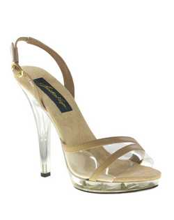 """Strut your sexy stuff in these vinyl and taupe platform sling back sandals. The peep toe style front offers a better fit with the wider toe strap and adjustable sling back design. The 4"" heel is balanced with a 1/2"" platform front and sueded insole for comfort. Available in clear vinyl/taupe."""