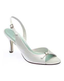 """Hand-made with silk, this shoe exudes sophistication with subtle rhinestone details and a 3"" heel. Available in dyeable white or ivory. Slingback is adjustable so you get a comfortable fit."