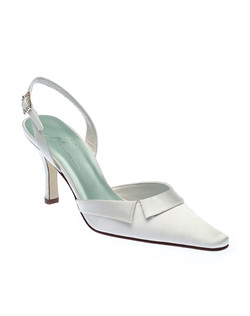 """The pointed toe and fold-over pleat at the vamp give refined style to this slingback that's anything but trendy. Handmade with dyeable white or ivory fabric, a 3"" heel and dazzling rhinestone buckle."