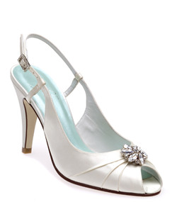 """Trendy style, refined for your big day with a 3.5"" heel and pleated peep-toe that's been embellished with a Swarovski crystal jewel. The slingback is designed with a crystal buckle so you can adjust to get a comfortable fit. Crafted from fine silk satin in your choice of ivory or dyeable white."