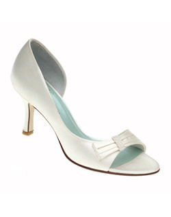 """This style is a great middle ground between a strappy sandal and a traditional pump, and it looks great any time of year. Made from your choice of dyeable white silk satin or ivory silk satin with a beaded detail over the toe and a 3"" heel."