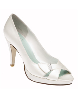 """A peep toe with just a touch of glitz. This platform shoe has a 3.5"" heel and is available in dyeable white or ivory. Available in a wide selection of sizes."