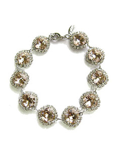 "Vintage rose (blush) cushions cut Swarovski crystals accented with a clear rhinestone bezel. 7""L with 2"" extender"