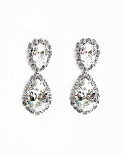 "A pear shape Swarovski crystal surrounded by halo of smaller crystals 1 1/4"" L"