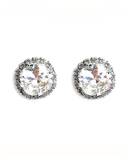 Swarovski crystal cushion cut stone accented with a rhinestone bezel 1/2 diameter