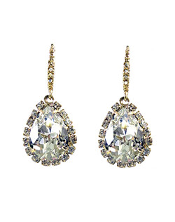 "Pear shaped Swarovski crystal set in 18K gold finish. Accent with cz french hook.  1.5"" L"