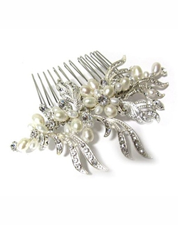 Freshwater pearls and crystal hair comb.