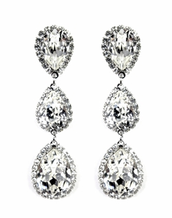 "Combining classic teardrops with triple drop glamour, these Swarovski teardrop earrings are the perfect addition to your formal event or wedding. A perfect style to wear again and again! Dimensions: 2.5"" L; 2/3"" W"