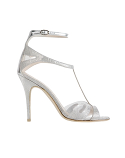 Silver Shimmer Brocade Sandal with Clear PVC Detail