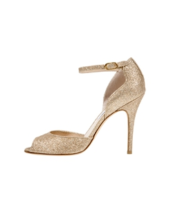 Gold Glitter Asymmetrical Sandal with Ankle Strap