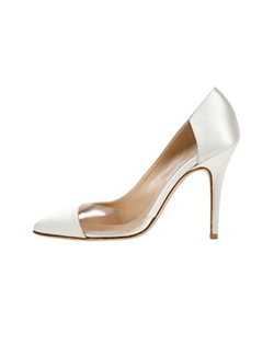 Ivory satin asymmetrical pump with clear PVC detail