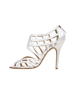 Ivory Satin Caged Bootie